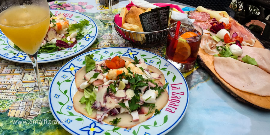 Seafood salad and cold meat cuts (Positano, Bar La Zagara), Italy