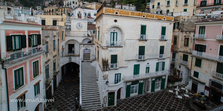 Church of San Salvatore de' Birecto and the main square of Atrani, Italy