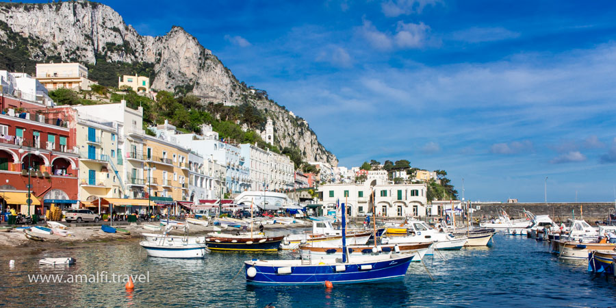 Boats in Marina Grande, the Island of Capri, Italy