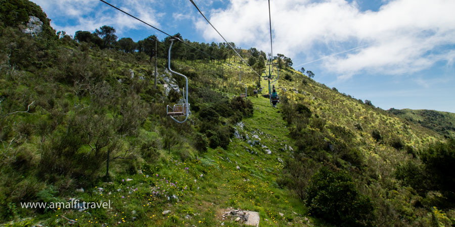 Chair lift to Mount Solaro, Anacapri, Isle of Capri, Italy