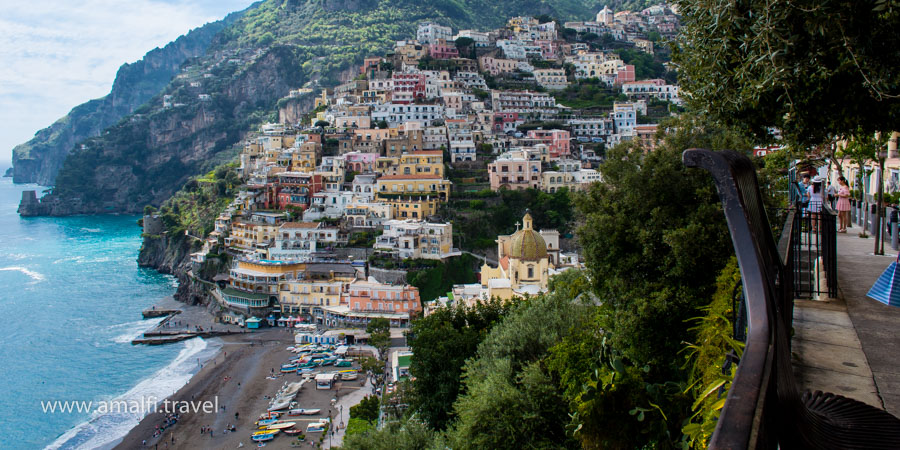 View from the street Christopher Columbus on Positano, Italy