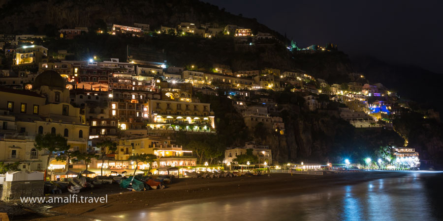 Beach Grande at night, Positano, Italy