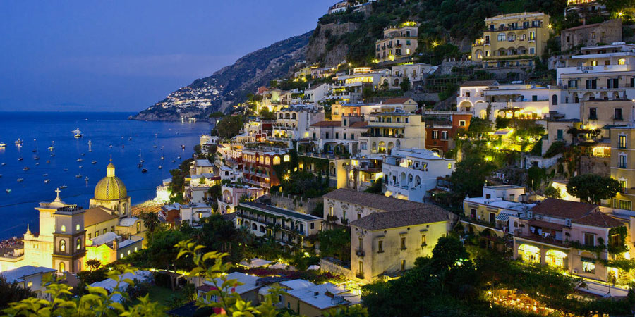 View of Positano at night, Italy